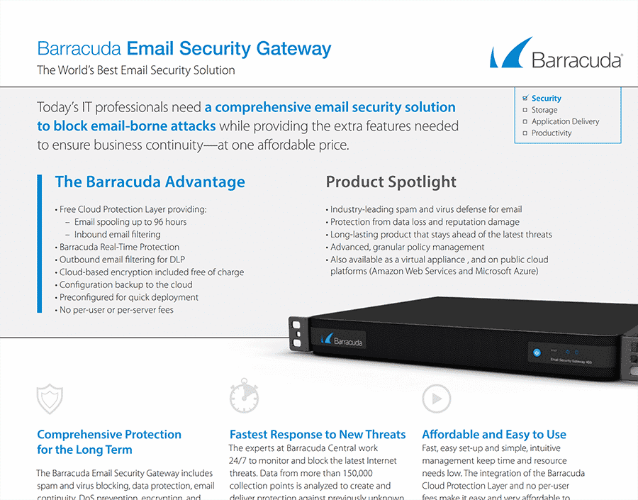 barracuda email security gateway antispam datasheet