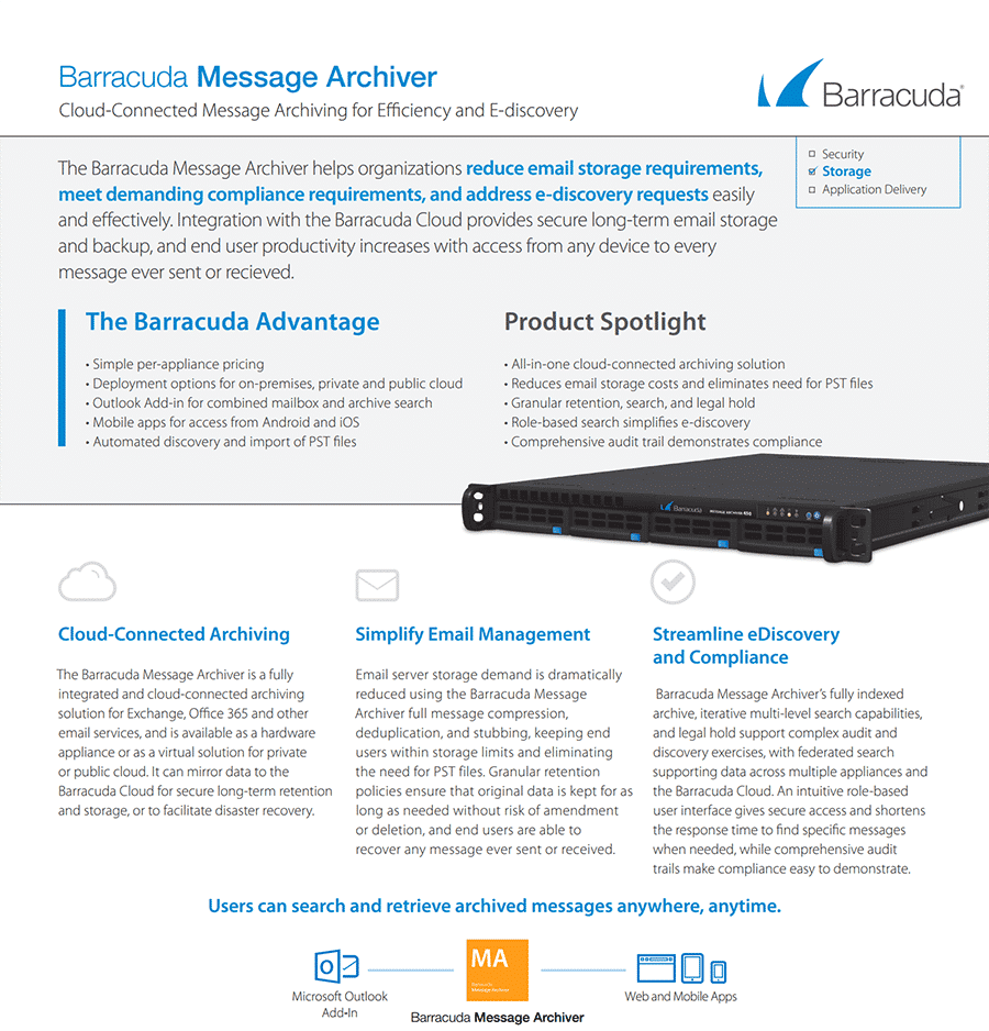 barracuda message archiver datasheet